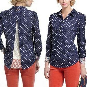 Anthro birds of paradis trovata blouse shirt